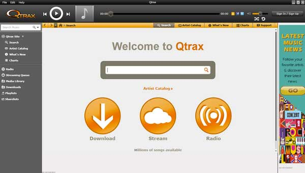Qtrax player