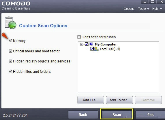 scanning options