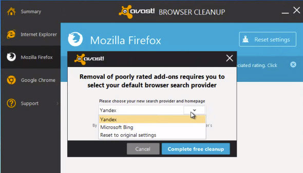 Browser Cleanup settings reset